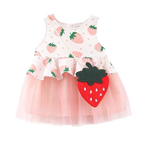 Realde Mädchen MiniKleid+Umhängetasche Beiläufige Ananasdruck Rückenfreie Ärmellos Kinder Baby Kurze Kleid Prinzessin Sommerkleid Urlaub Outfit Kleidung Schön Kleinkind