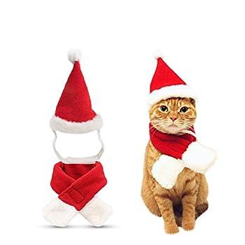 Hosaire 1set Robe Noel pour Chien/Chat/Lapin Nouveau Deguisement De Noel Animaux De Compagnie Cadeau De Noël Chats Et Chiots Noël Habiller Santa Classique Dress Up Écharpe Chapeau De Noël(Style-1)