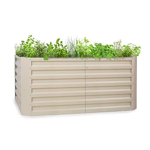 blumfeldt High Grow Straight - Hochbeet Gartenbeet, Material: verzinkter Stahl; Ø 0,6 mm, Rostschutz, 4 Aluminium-Schutzbalken, Größe: 120 x 60 x 60 cm (BxHxT), Volumen: 432 l, beige