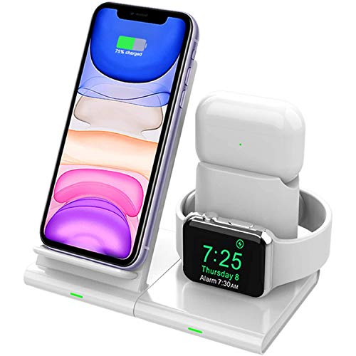 Hoidokly Caricatore Wireless, 3 in 1 Ricarica Wireless Rapida per Apple Qi Caricabatterie Docking Station 7.5W per iPhone SE2/11 PRO Max/XS Max/XR/X/8 Plus/8, iWatch Serise 5/4/3/2/1 e Airpods PRO/2