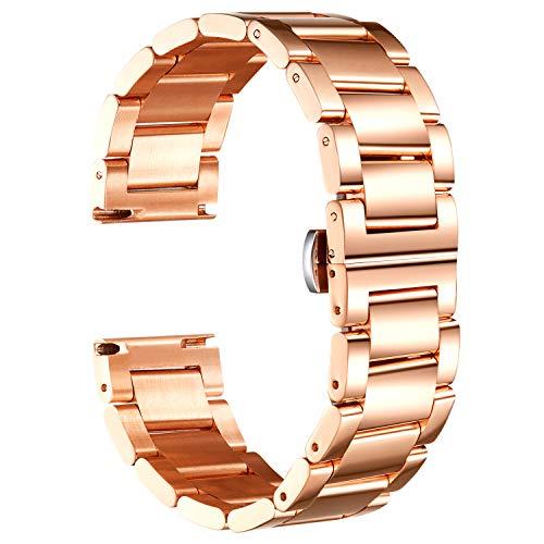 Banda de Reloj Compatible con Fossil Q Venture Gen 5/Gen 4/Gen 3/Sport 41mm 43mm/Hybrid Smartwatch Acero Inoxidable Correas metálicas Reemplazo 18mm 22mm 24mm Pulsera de Reloj de Metal para Negocios