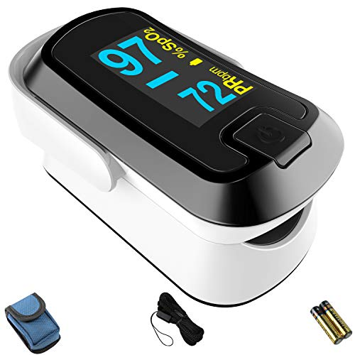 mibest OLED Finger Pulse Oximeter, O2 Meter, Dual Color White/Black