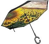 美しい夕焼けの広大なフィールド ユニセックス二重層防水ストレート傘車逆折りたたみ傘C形ハンドル付き