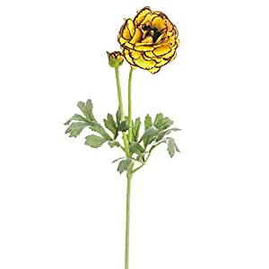 SilksAreForever 21″ Silk Ranunculus Flower Stem -Orange/Burgundy (Pack of 12)
