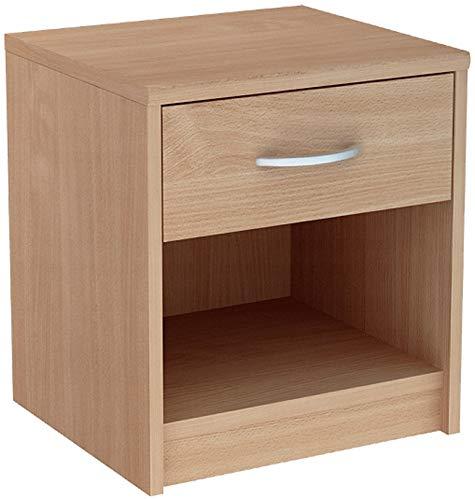 MATKAM Nachttisch 1S in klassischer Optik | H/B/T 45 x 38,8 x 35 cm, mit einem Schubladen und einem offenen Ablagefach| In verschiedenen Ausführungen erhältlich (Buche)