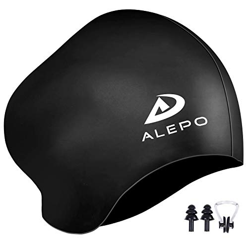 Womens Swim Cap for Long Hair, High Elasticity Thick Silicone Swimming Hats for Women Men Unisex Adults, Bathing Swimming Caps with Ear Plugs and Nose Clip, Keep Your Hair Dry (Black)