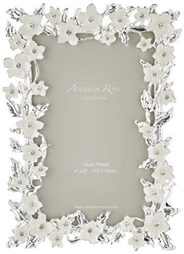 Addison Ross, Hochzeit Fotorahmen, Silberblatt & Creme Blume, 4 x 6 Zoll