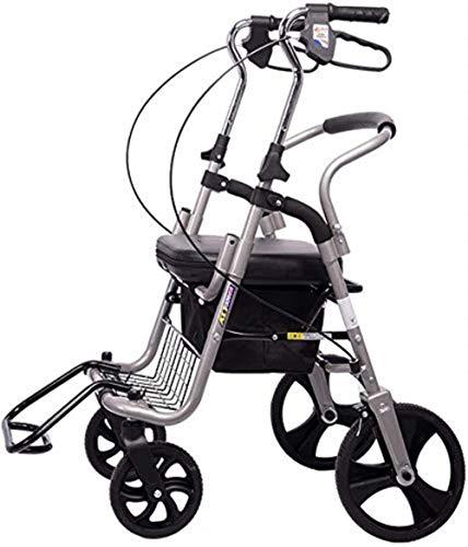 Luz Walker andador con asiento y andadores con ruedas para la movilidad de personas de edad avanzada, médico ayuda de altura regulable plegable andador con un carro, gris
