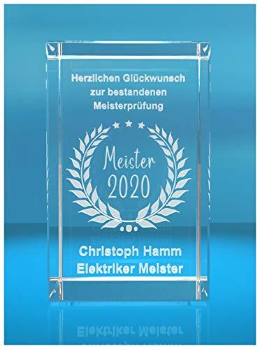 ELUNO 3D Glasquader | Meister 2020 | Glückwunsch mit Wunschtext | Geschenk zur Meisterprüfung