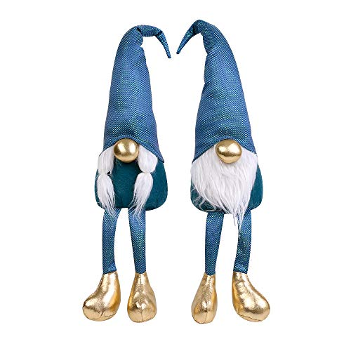 Spring Summer Gnome Holiday Decoration Set of 2, Mother's Day Decoration, Swedish Gnome Plush,Handmade Tomte Plush Gnomes, Spring Home Deco Christmas Ornaments Tabletop Santa Figurines 19 inch(Blue)
