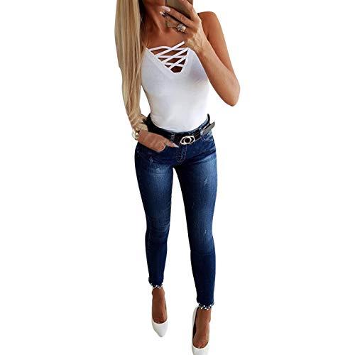 Guapo Jeans Vaqueros Pantalon Pantalones Vaqueros De Mujer De Moda para Mujer, Pantalones De Tubo Ajustados con Costura