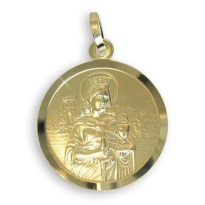 Echt 8 K Gold 333 Heilige Barbara Medaille Patronin der Bergleute, Durchmesser 18mm (Art.213216) Gratis Express Gravur