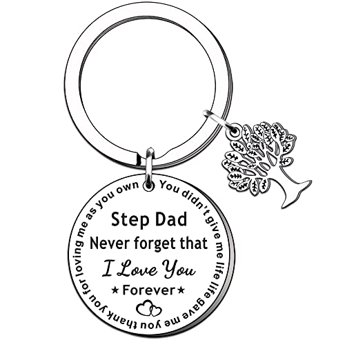 TTOVEN Step Dad Keyring Gift Fathers Day Gifts Step Father Keyring from Daughter Son Birthday Gift for Step Dad Never Forget That I Love You Forever Thank You for Loving Me As Your Owm Key Ring