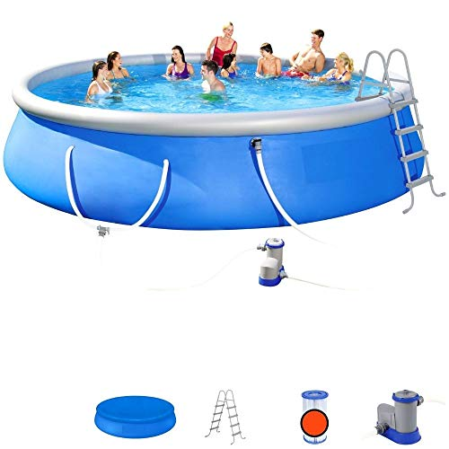 Above Ground Pool with Pump 18 Foot Round Swimming Pool Durable Filter Pump Ladder Cover Best Above Ground Pool Blow Up Inflatable PVC Filter Pump Durable Summer Blue & eBook by NAKSHOP
