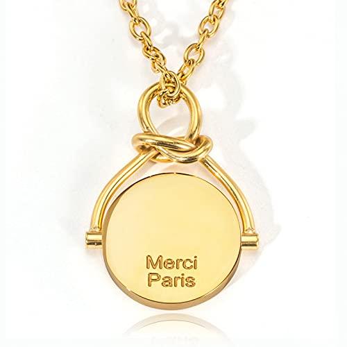 N/A Collar Paris No Mercy Fashion All-Match Giratorio Otoño Nuevo Anillo Colgante Collar Regalo del Día De San Valentín Regalo del Día De La Madre Regalo De Cumpleaños