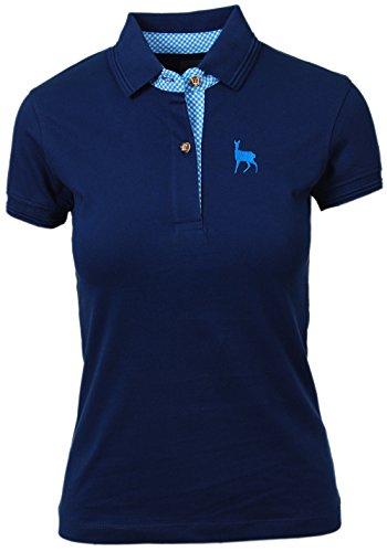 Trachtenpolo-Shirt Damen, Pique-Baumwolle und Elasthan, Polo-Shirt in tannen-grün, mit Hirsch-Stick rosa, alle Größen (S, Blau)