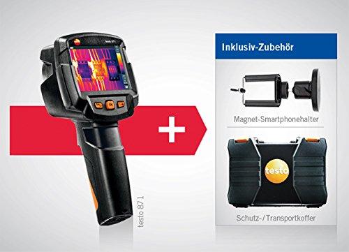 Wärmebildkamera testo 871 mit Funkmodul Bluetooth/WLAN, Koffer, inklusive Koffer und Kleinschmidt GmbH Magnet-Smartphonehalter