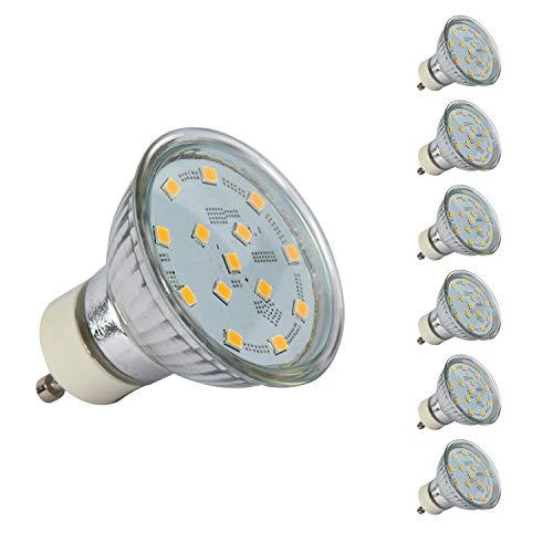 GU10 LED Warmweiss 3000K 4W 400 Lumen LED Lampe Ersatz für 50W Halogenlampen LED GU10 Glühbirnen mit 120° Abstrahlwinkel CRI>80, Nicht Dimmbar 6 Pack [Energieklasse A+]