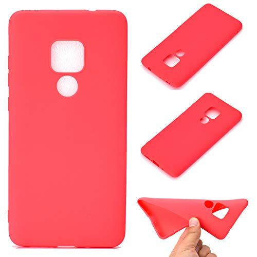 LeviDo Coque Compatible pour Huawei Mate 20 Étui Silicone Souple Bumper Antichoc TPU Gel Cover Bonbons Couleurs Design Ultra Fine Mince Caoutchouc Etui, Rouge