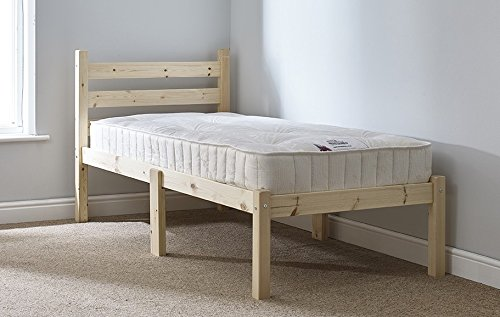 Strictly Beds and Bunks - Thor Pine Single Bed Frame including Sprung Mattress (15 cm), Single 2ft 6 (5ft 9 Length)