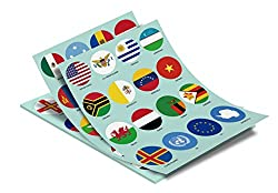 World Flags Stickers - 224 Countries and Regions Plus UN and EU, Large Round Self-Adhesive Glossy Paper, Easy to Remove