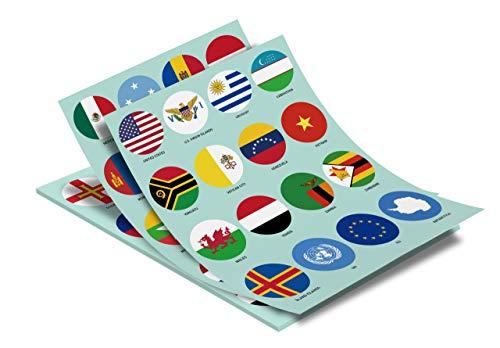 Weltflaggen Aufkleber - 224 Länder und Regionen plus UN und EU, groß, rund, selbstklebend, glänzendes Papier, leicht ablösbar