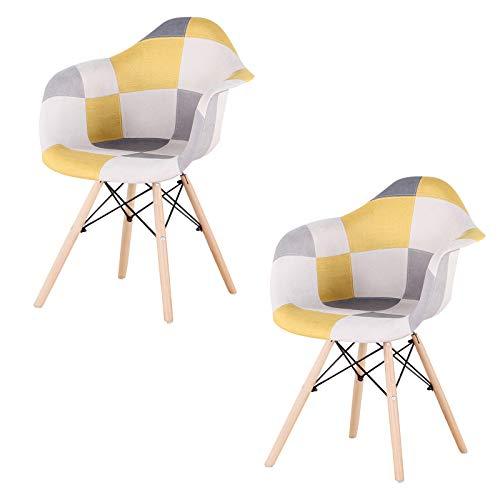 Sweethome - Juego de 2 sillas de comedor (2 unidades), diseño de parchados