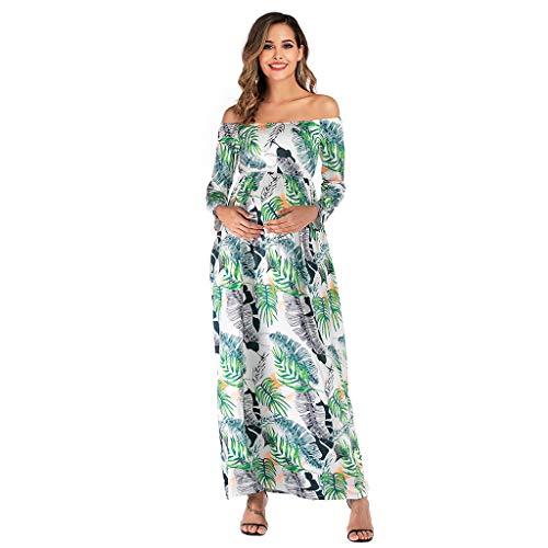 Ashui Damen schwanger Mutterschaft Kleid Blume Pflege Schwangerschaft lässig 2in1 Umstands schwangerschaftskleider Stillkleid Umstandsrock Eine Schulter Lange Ärmel Blätter Drucken Kleid