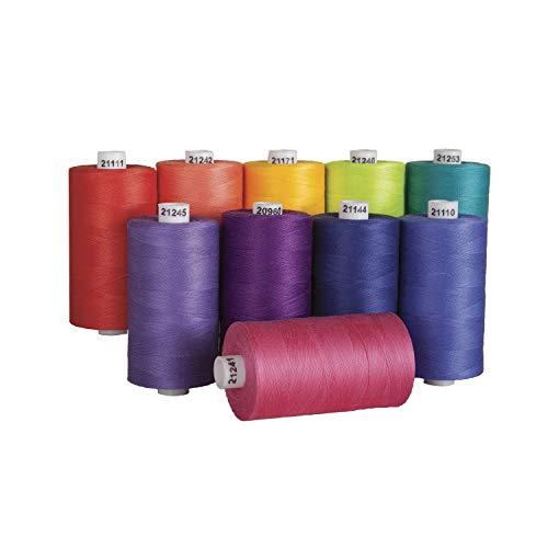 Connecting Threads 100% Cotton Thread Sets - 1200 Yard Spools (Set of 10 - Fruit Salad)