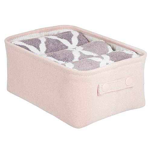 mDesign Soft Cotton Fabric Closet Storage Organizer Bin Basket with Lined Interior and Attached Carrying Handles for Bathroom Vanity Cabinet Shelf Countertop - Wide - Light PinkBlush