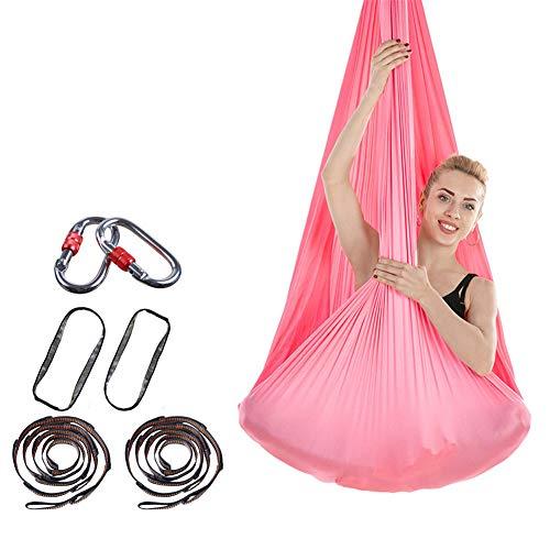 THJ Elástica Aérea Yoga Hamaca, Yoga Estiramiento La Correa De Cubierta Anti-Gravedad De La Cuerda Y Deportes Aparatos De Ejercicios De Yoga, 400cm * 280cm (Pink)