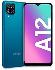 "Samsung Galaxy A12, Smartphone, Display 6.5"" HD+, 4 Fotocamere Posteriori, 128 GB Espandibili, RAM 4 GB, Batteria 5000 mAh, 4G, Dual Sim, Android 10, 205 g, Ricarica Rapida [Versione Italiana], Blu"