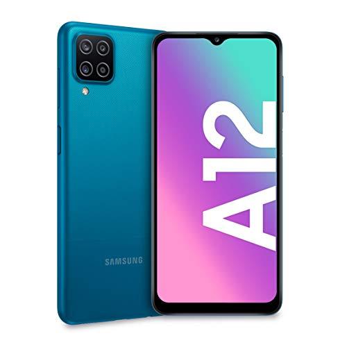 Samsung Galaxy A12, Smartphone, Display 6.5' HD+, 4 Fotocamere Posteriori, 128 GB Espandibili, RAM 4 GB, Batteria 5000 mAh, 4G, Dual Sim, Android 10, 205 g, Ricarica Rapida [Versione Italiana], Blu