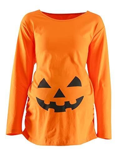 Womens Maternity Funny Halloween Pumpkin Costume Pregnancy Cute Long Sleeve Pregnant T Shirts (M) Orange