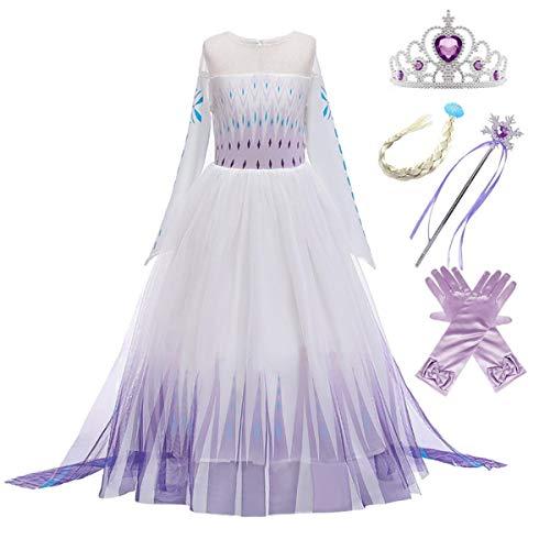 Kosplay ELSA Kleid Eiskönigin 2 Prinzessin Kostüm Mädchen Schneekönigin Kleid Kinder Verkleidung Karneval Party Cosplay Fasching Halloween Weihnachtsfeier Kostüm 3-11 Jahre