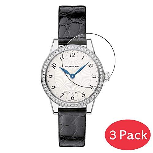 VacFun 3 Piezas Vidrio Templado Protector de Pantalla para MONTBLANC 111208, 9H Cristal Screen Protector Sin Burbujas, Alta Definición Película Protectora Reloj Inteligente Smartwatch Pulsera