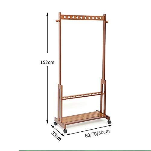 POETRY Coat rack jas hanger vloer slaapkamer bamboe kleding planken met verwijderbare ruiten kledingrek A ++ (grootte: 70 * 33 * 152cm)