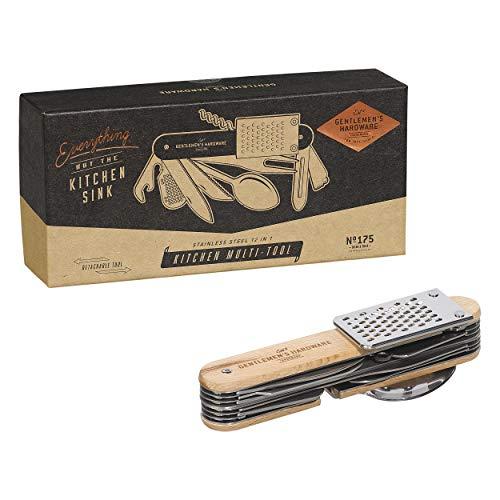Gentlemen's Hardware 12-in-1 abnehmbares Küchenwerkzeug aus Edelstahl mit Holzgriffen