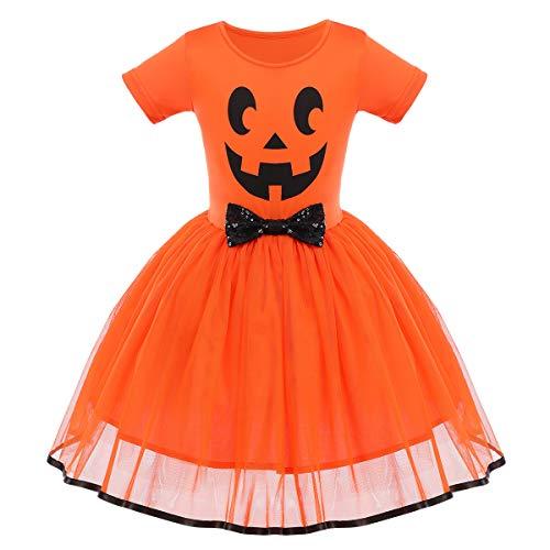FYMNSI - Costume da principessa per bambina, per Halloween, travestimento da fantasma, zucca a una linea di tulle da principessa, per carnevale, feste, cosplay, per 6 mesi, 6 anni Faccia di zucca arancione 24 mesi