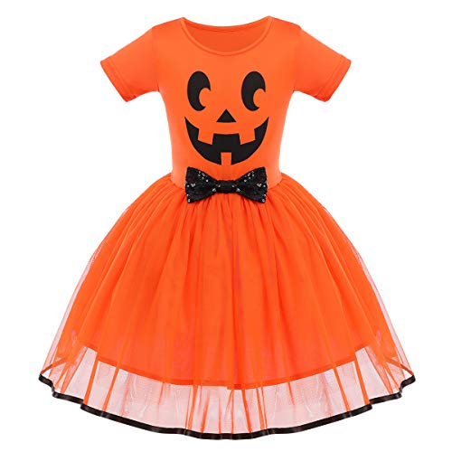 FYMNSI - Costume da principessa per bambina, per Halloween, travestimento da fantasma, zucca a una linea di tulle da principessa, per carnevale, feste, cosplay, per 6 mesi, 6 anni Faccia di zucca arancione 2-3 Anni