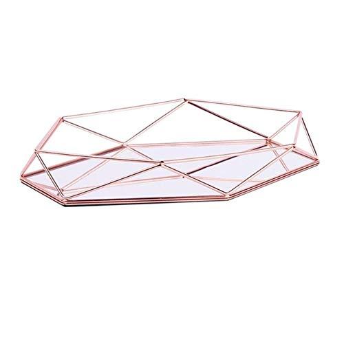 Driedimensionaal smeedijzeren opbergvak Nordic minimalistisch woondecoratie Rosé goud spiegel bodem zeshoekig dienblad, rose goud