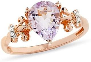 10K Rose Gold Pink Amethyst Diamond Pear Ring (.02cttw, I-J Color, I2-I3)