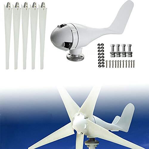 YiWon Mini 24V Windgenerator, 400W Wind Turbine Generator mit 5 Blades 1,4 m Durchmesser Windkraftanlage Wind Power System