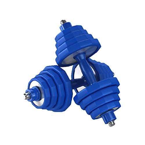 ZNZN Hanteln 304 Edelstahl Hantel Fitness Einstellbare Gewicht Pure Steel Paar Anzug Kombination for Body Workout Home Gym kurzhanteln (Color : Blue, Größe : 15kg x 2)