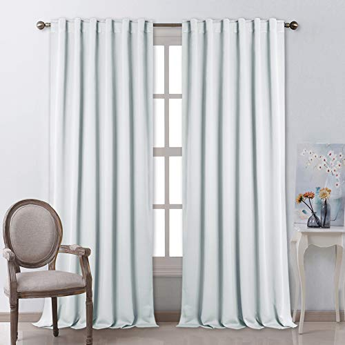 NICETOWN Living Room Curtain Panels - (Cloud Grey Color) W52 x L108, 2 PCs, Back Tab/Rod Pocket Room Darkening Window Treatment Draperies