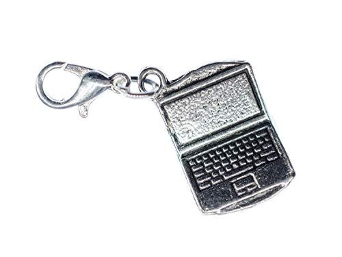 Miniblings Laptop Notebook Computer Charm Arbeiten Büro Silber - Handmade Modeschmuck I Kettenanhänger versilbert - Bettelanhänger Bettelarmband - Anhänger für Armband