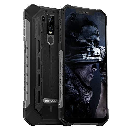ロック解除耐久携帯電話 Ulefoneアーマー6E強力かつ耐久性 ある携帯電話 防水デュアルSIM 4 G 6.2「FHDアンドロイド9.0ヘリオP 70,4 GB + 64 GB SOS + NFC +顔認識+ UV戦争+ GPS +ワイヤレス充電(暗がり)