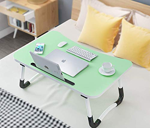 Foldable Laptop Bed Table, Portable Lap Desk with Slot for Bed and Sofa, Multifunction Lap Tablet, Notebook Stand Reading Holder, Folding Dining Table Dormitory Table Dorm Desk for Watching Movie