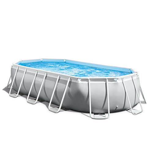 Intex 16ft 6in 26795EH Prism 16.5ft x 9ft 48in Outdoor Frame Above Ground Oval Swimming Set with Filter Pump, Pool Cover and Ladder, Gray, x x, Light Grey