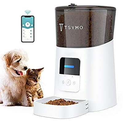 TSYMO Automatic Cat Feeder - 6L App Control Pet Food Dispenser for Cats & Puppies with Anti-Clog Design, Voice Recording, Scheduled Feeding and Portion Control, 1-15 Meals per Day